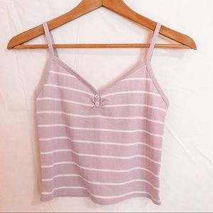 Lilac and White Striped Tank Crop Top